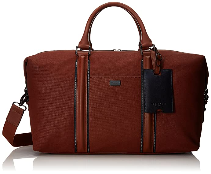 Ted Baker Men's Canvas and Leather Holdall Duffel Bags, Tan, One Size