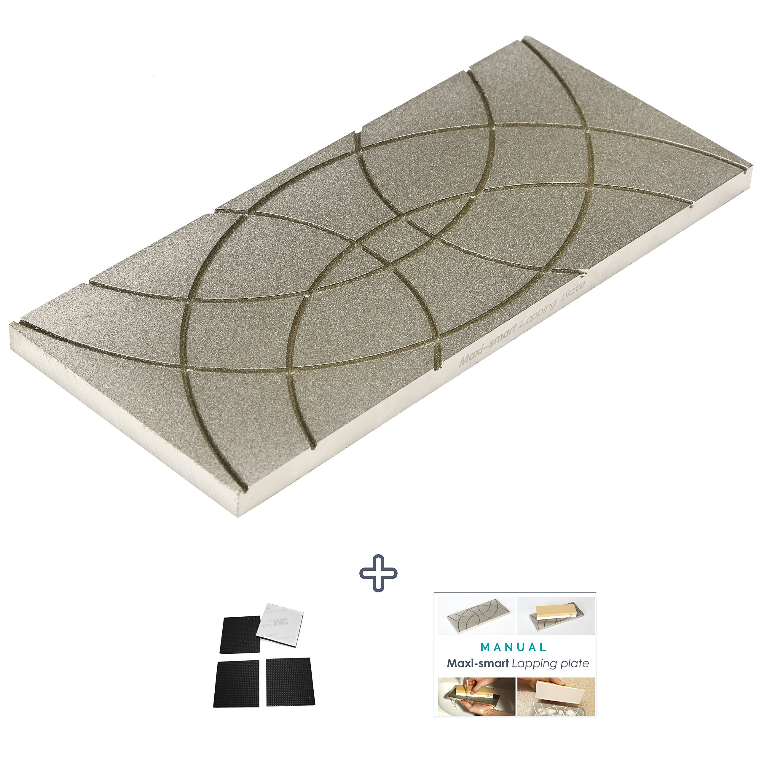 "Maxi-smart Lapping Plate | Diamond Flattening Stone for 400 - 10k grit Waterstones, Oil Stones, Synthetic Stones | 9,6"" x 4,2"" x 0,4"" 