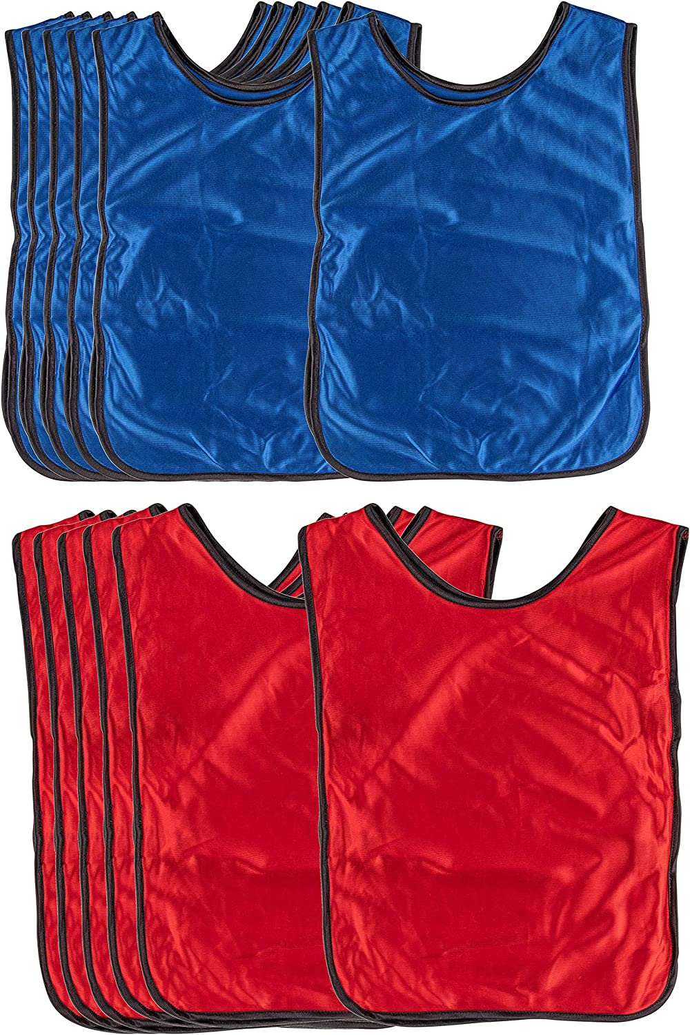 Scrimmage Vests - 12-Pack Soccer Pinnies, Team Jersey, Training Vest, Soccer Scrimmage Vests for Adults Men Women, for Basketball, Football, Volleyball, Red and Blue, Adults Over 180 Lbs: Clothing
