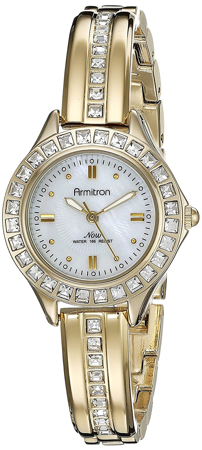 Armitron Women s 75 5296MPGP Swarovski Crystal Accented Gold-Tone Bangle Watch