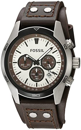 855f9cb64282c Fossil Men s Coachman Quartz Stainless Steel and Leather Casual Watch  Color  Silver