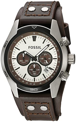 834c4f683 FOSSIL Coachman Chronograph Brown Leather Watch / Analogue Men's Watch with  Quartz Movements and Silver Dial