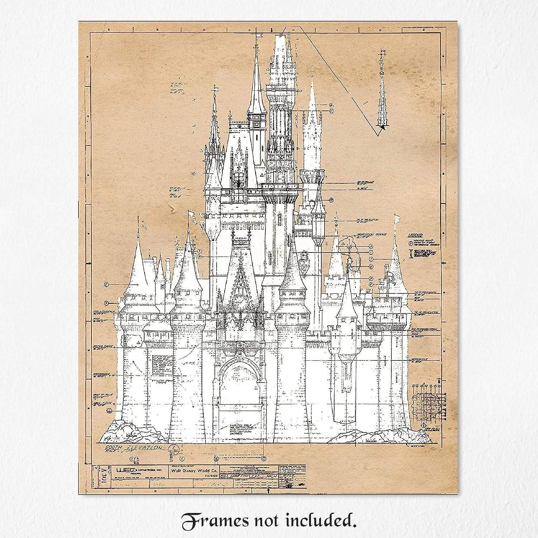 Cinderella/'s Castle Vintage Disney Patent Print Disney Home Décor 11x14