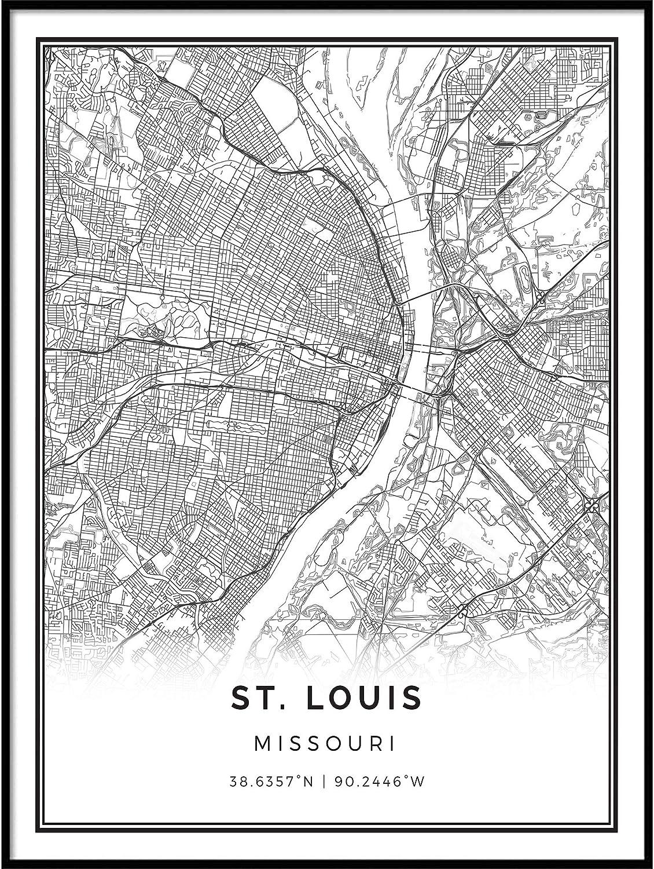Squareious St. Louis map Poster Print   Modern Black and White Wall Art   Scandinavian Home Decor   Missouri City Prints Artwork   Fine Art Posters 11x14