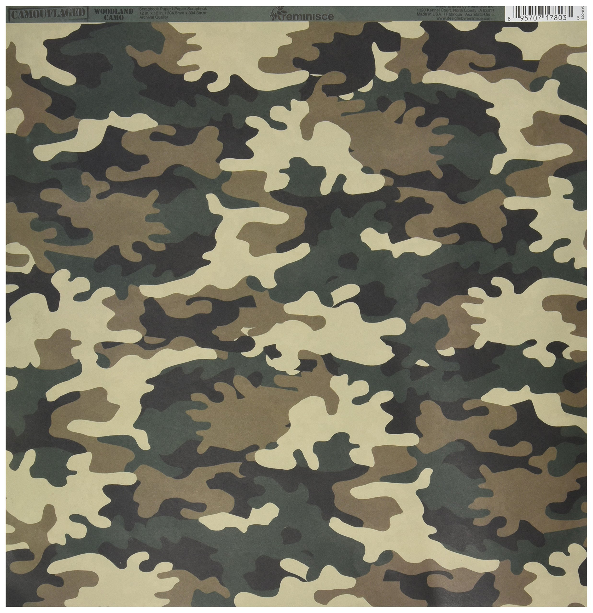 Reminisce Camouflaged 12 by 12-Inch Double Sided Scrapbook Paper, Woodland Camo (CAM-003)