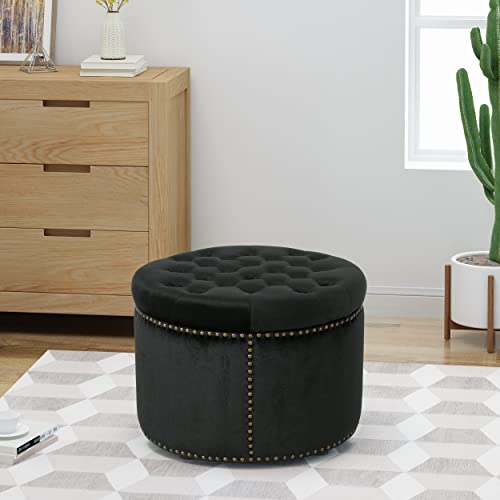 Christopher Knight Home Carlos Glam Velvet Tufted Ottoman, Black