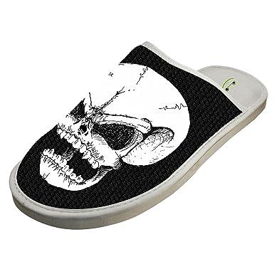 e6e5f00c7eea7 Skeleton Skull Gothic Slippers Home Slip-On Sandals Flat Sleeppers Shoes Custom  Flip-Flops