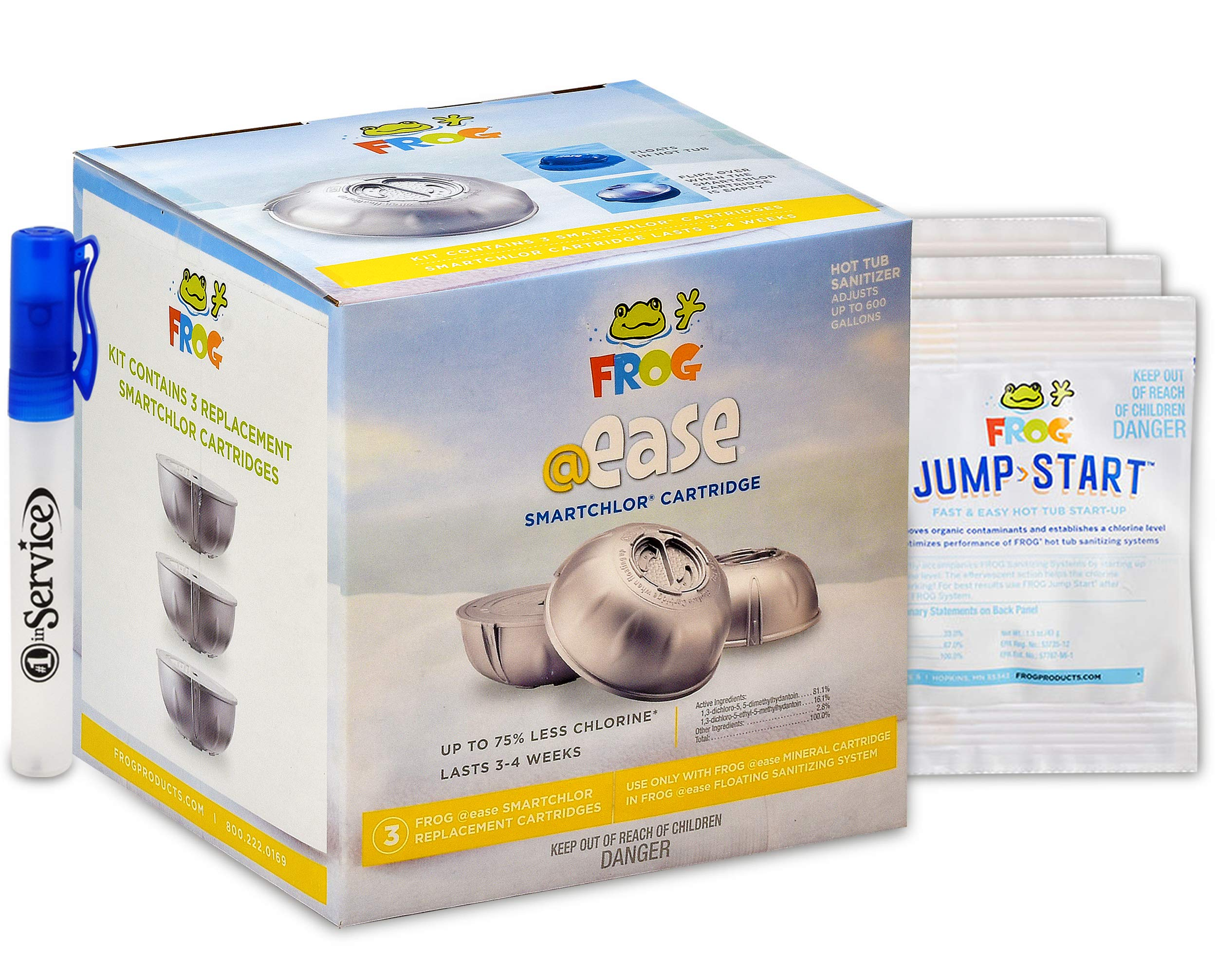 Frog @Ease Smartchlor Cartridges 3 Pack, 3 Jump Start Packets for Spa Hot Tubs and Hand Sanitizer Included by SPA FROG