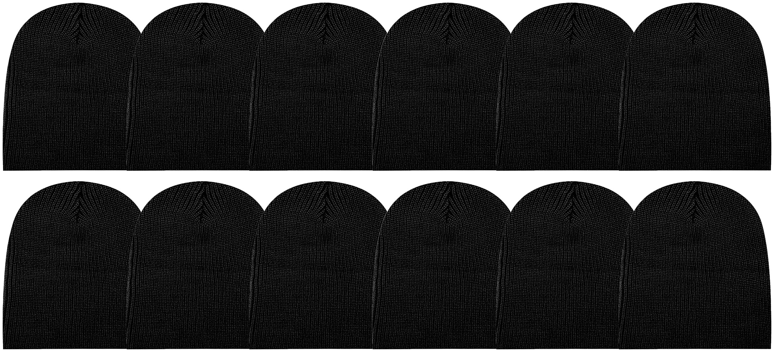 12 Units of excell Mens Womens Warm Winter Hats in Assorted Colors, Mens Womens Unisex (Black (No Cuff))
