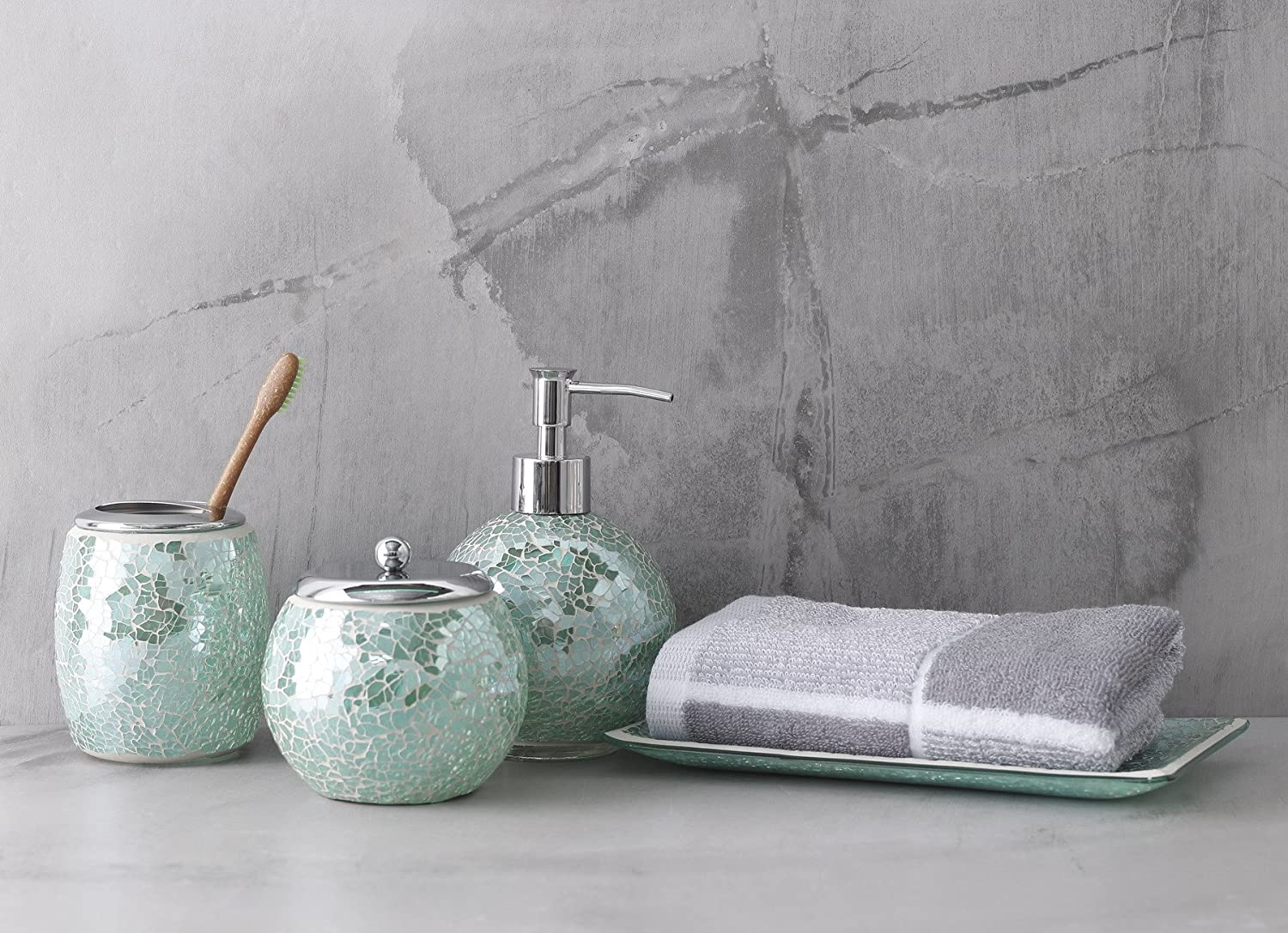 Paris Bathroom Accessory Set Includes Hand Soap Dispenser Toothbrush Holder Soap Dish Blue Donuts 4 Piece Bathroom Accessories Set Tumbler Grey