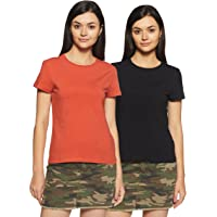 Amazon Brand - Symbol Women's Plain T-Shirt (Pack of 2)