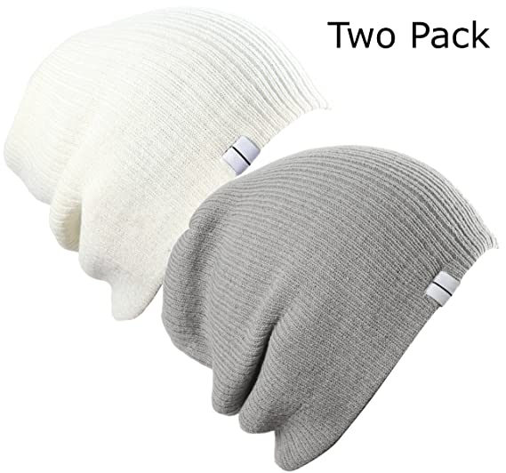 a118dcff57a51c Image Unavailable. Image not available for. Color: Slouch Beanie Two Pack  Off White and Light Grey