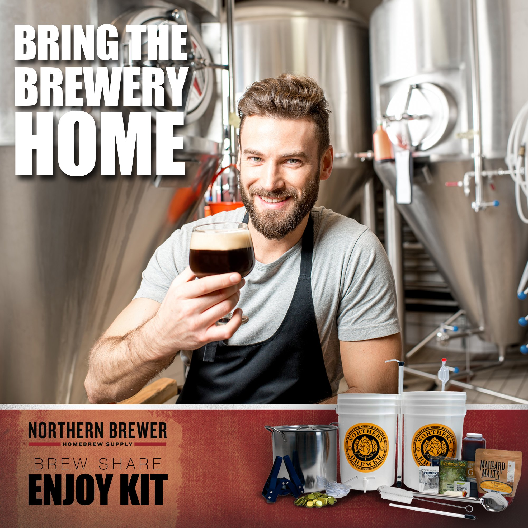Northern Brewer - Brew. Share. Enjoy. Homebrew 5 Gallon Beer Brewing Starter Set Recipe Kit and Brew Kettle (Block Party Amber) by Northern Brewer (Image #2)
