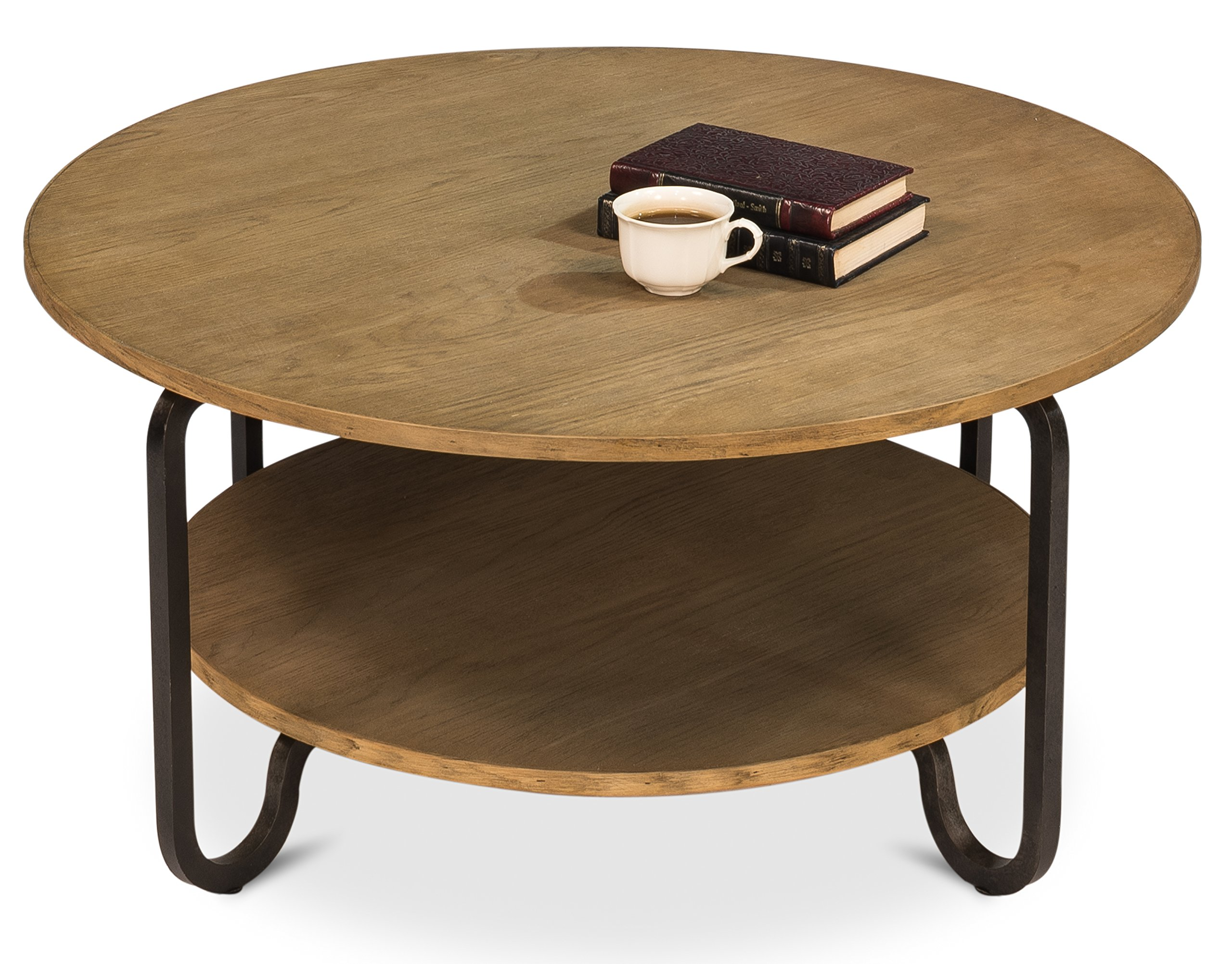 "Sarreid Hamilton Round Coffee Table - Made in China. Iron; rustic Black; one fixed shelf; Manufactures All Furniture Products Oak veneer Top bottom ; Bleached pine coffee ; tables ; furniture 35"" Depth x 16"" Height - living-room-furniture, living-room, coffee-tables - 91KAYkCu2aL -"