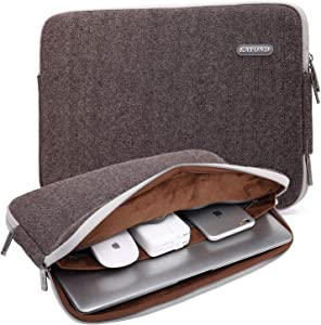 KAYOND Herringbone Woollen Water-resistant for 15-15.6 Inch Laptop Sleeve Case Bag (15-15.6 Inches, Brown)