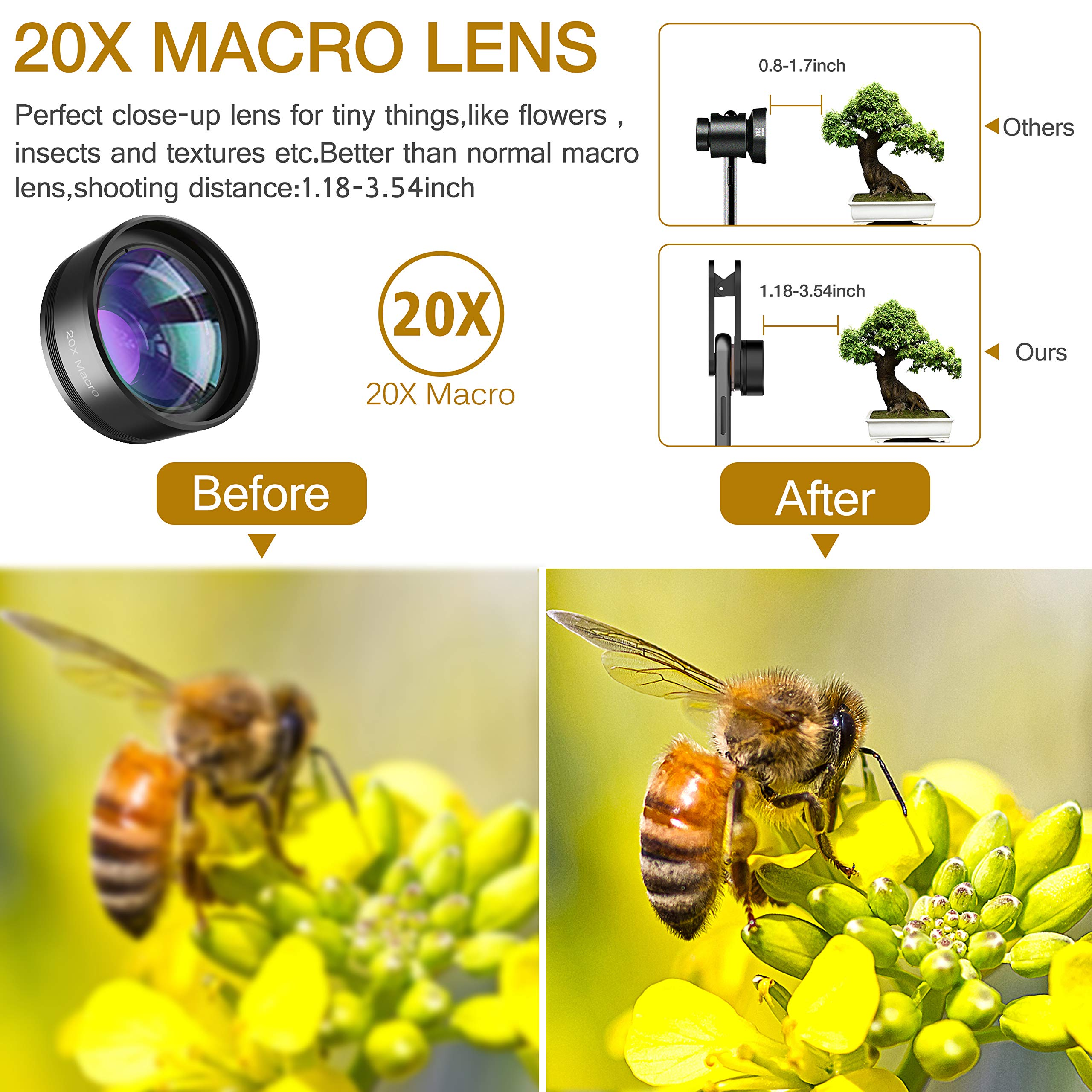 Phone Camera Lens,Upgraded 3 in 1 Phone Lens kit-198° Fisheye Lens + 20X Macro Lens + 120° Wide Angle Lens,Clip on Cell Phone Lens Kits Compatible with iPhone,iPad,Most Android Phones and Smartphones by LEKNES (Image #6)