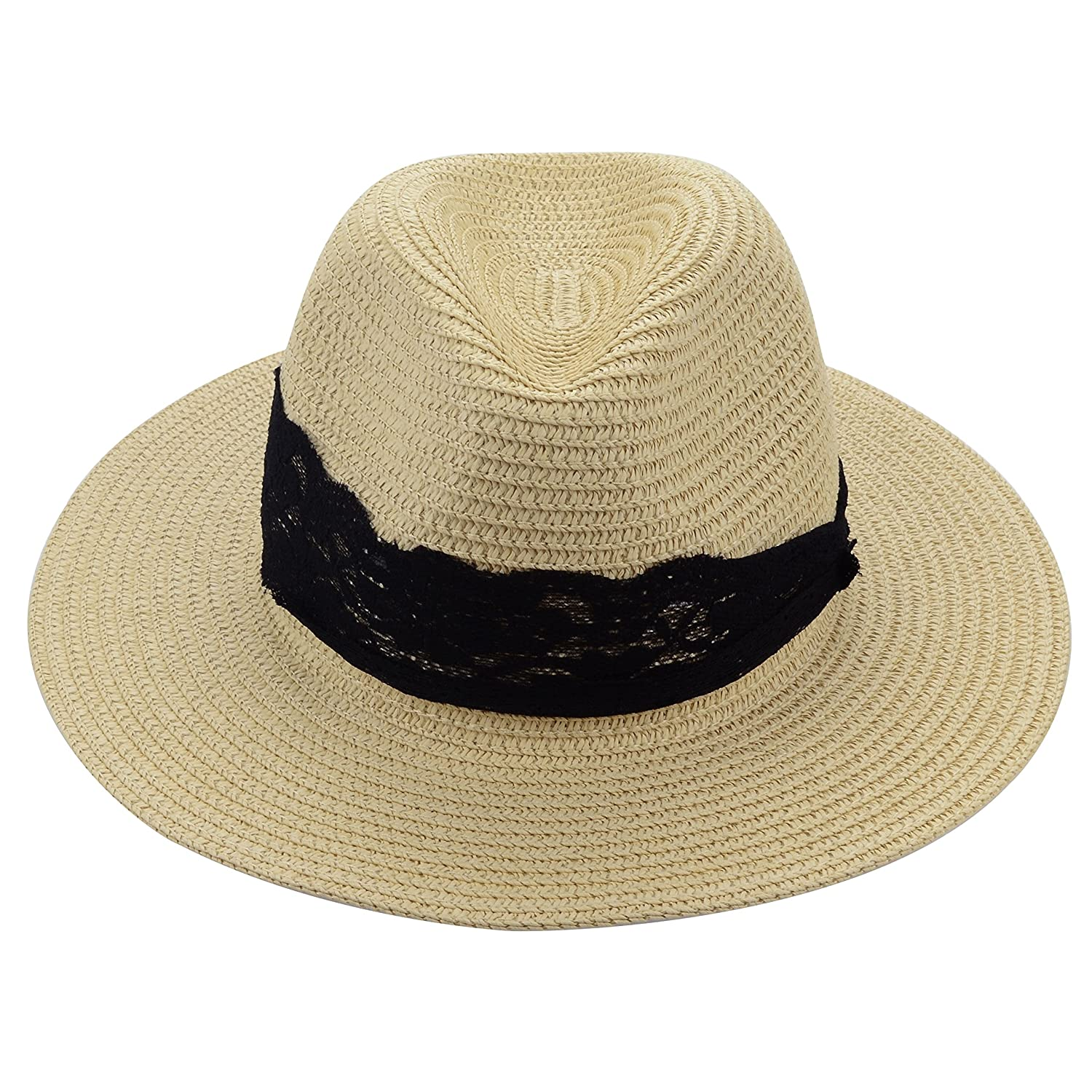 Medium Floppy Wide Brim Women s Summer Sun Beach Straw Hat with Black  Striped Band (Black Lace Ivory) at Amazon Women s Clothing store  13a542a1cbc1