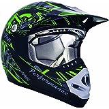 CKX 183962 TX-218 Pursuit Juniors/Kids/Youth Full Moto Helmet, Green/Black, Small