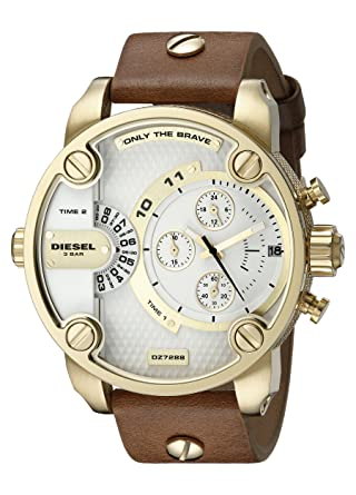 Diesel Little Daddy Chronograph Dual Time Brown Leather Gold Case Mens Watch DZ7288