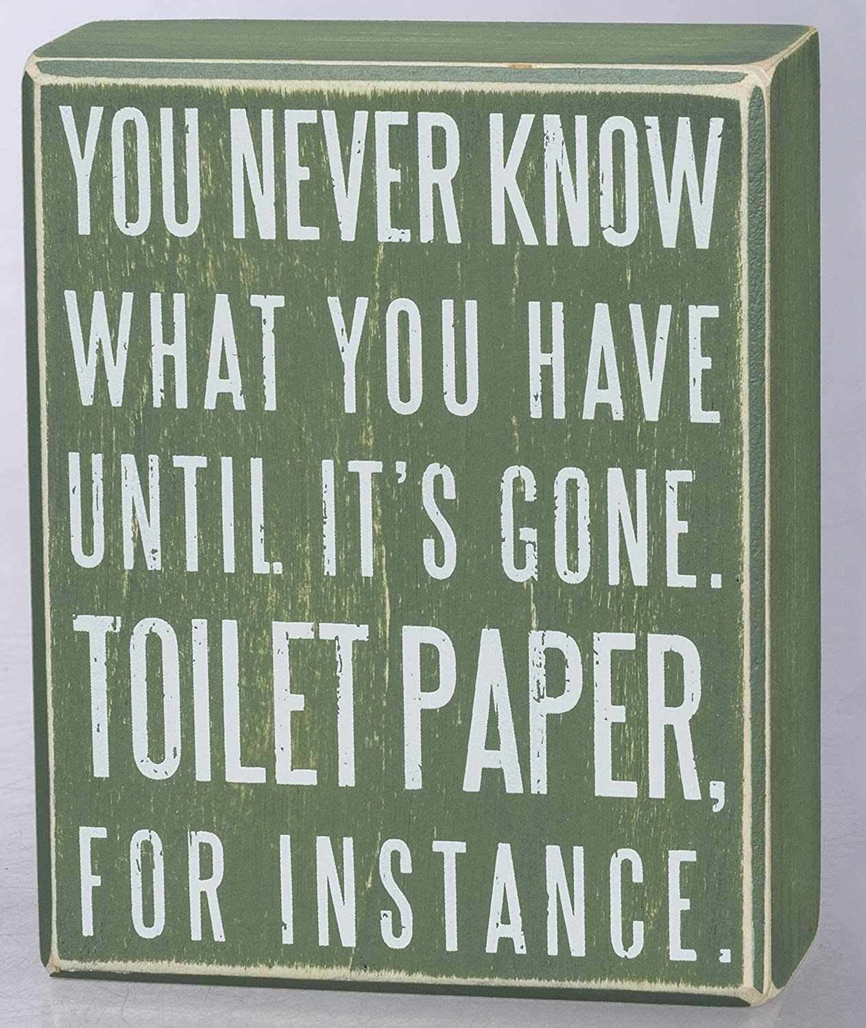 Primitives by Kathy Classic Box Sign, 4 x 5-Inches, You Never Know What You Have Until It's Gone, Grey/Green