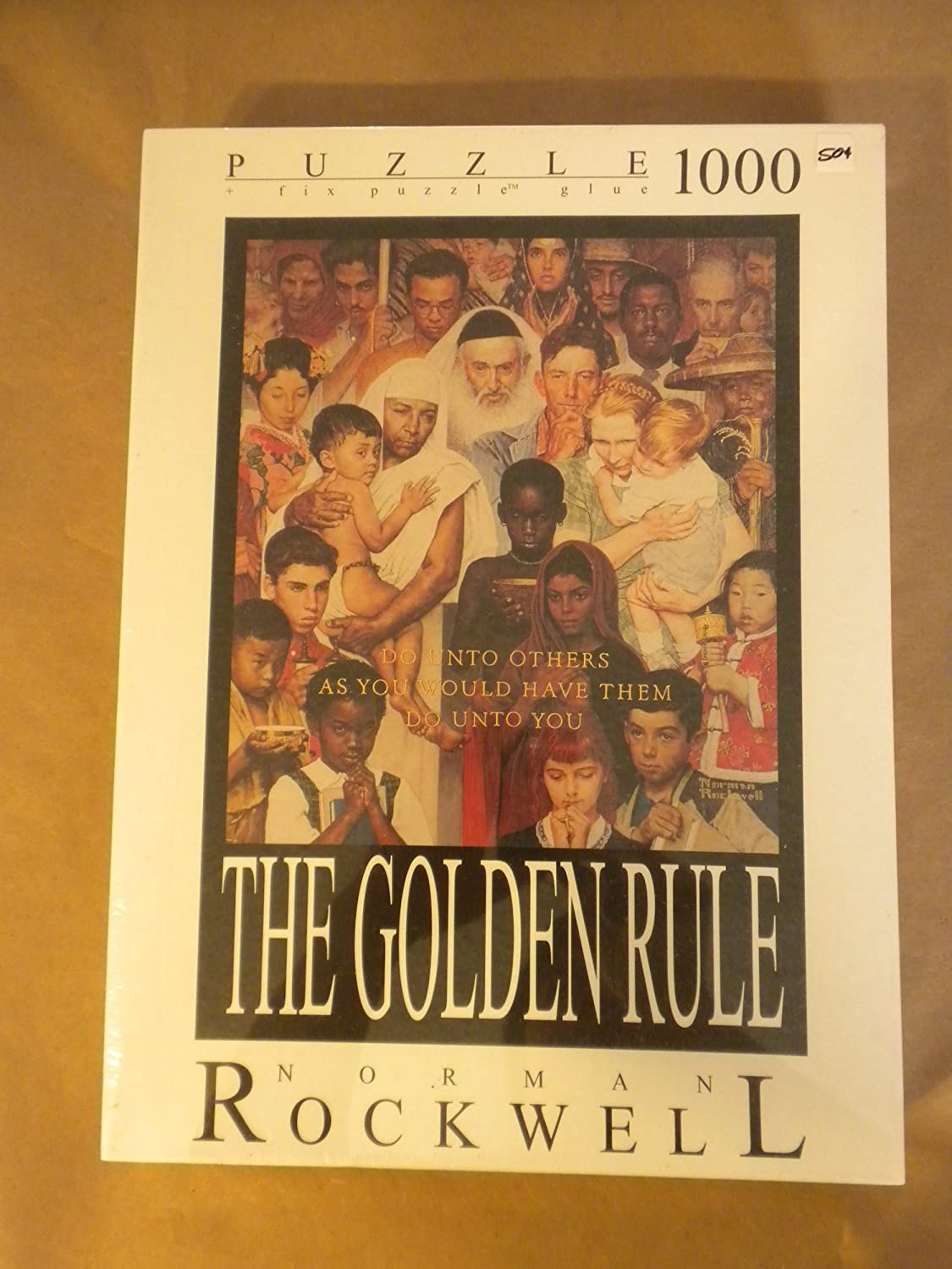 THE GOLDEN RULE by NORMAN ROCKWELL (JIGSAW PUZZLE OF 1000 PIECES WITH FIX PUZZLE GLUE)