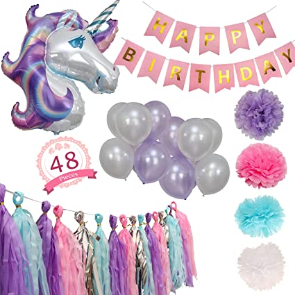 Unicorn Party Supplies With a Banner, A Huge Unicorn Balloon, 10 Latex Balloons, 16 Tassels, 4 Tissue Pom-Poms