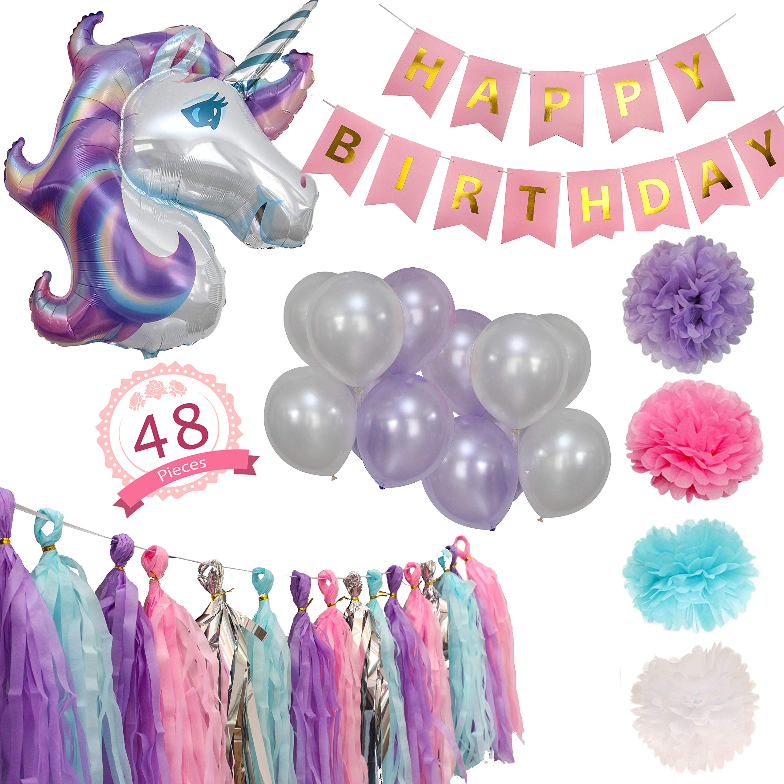 Party Maniak Unicorn Party Supplies Decorations for Girls with Banner, Foil and Latex Balloons, Tassels and Pom Pom - 48 Pieces