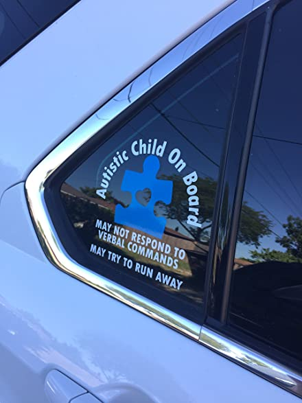 Amazoncom Autism Medical Alert Vinyl Car Window Decal - Window alert decals amazon