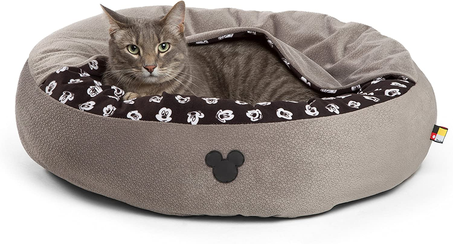 Disney Mickey Mouse Cozy Cuddler in Mickey Bobble Cat Bed Dog Bed, Hooded, Machine Washable, Multiple Sizes