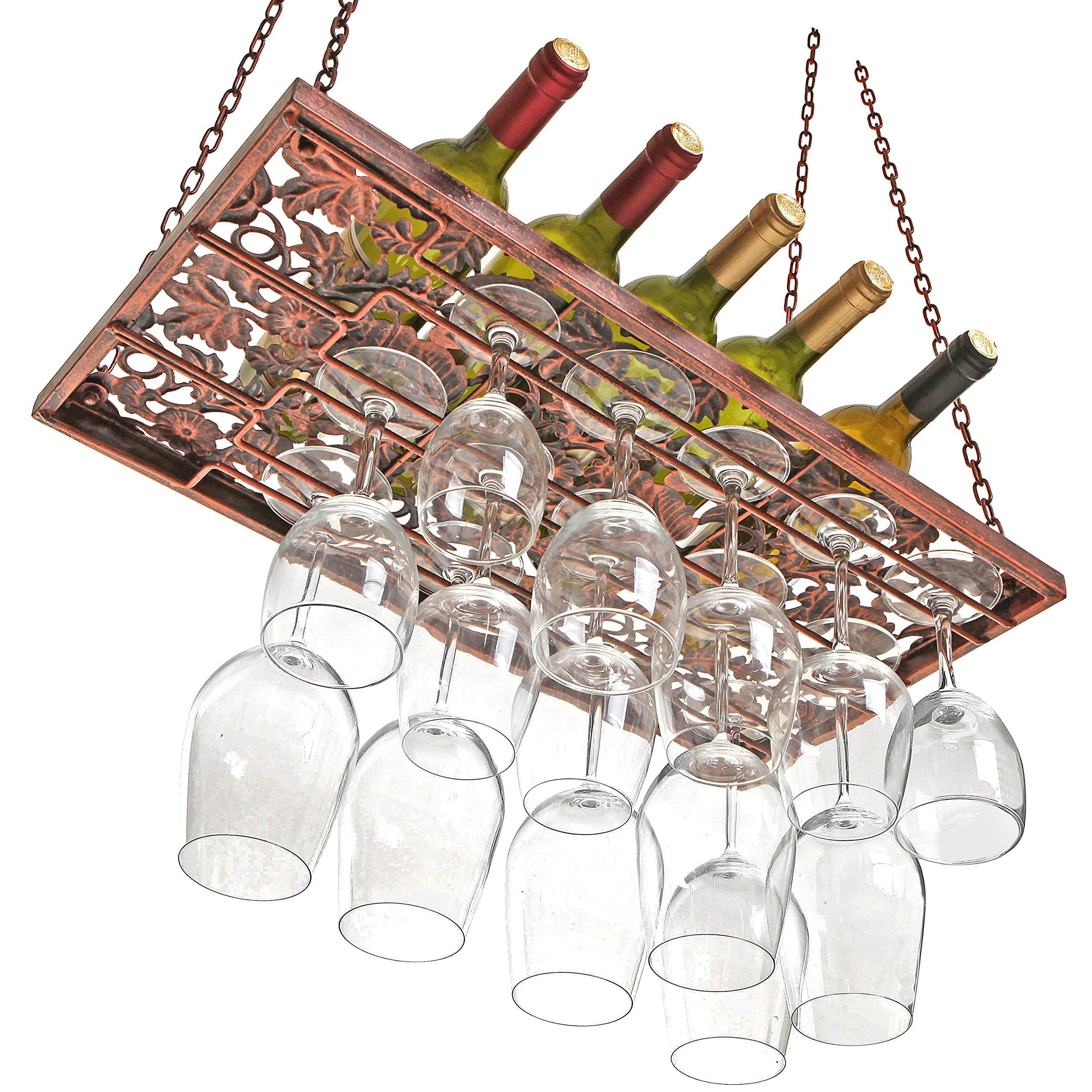 Vineyard Country Rustic Bronze Metal Ceiling Mounted Hanging Stemware Wine Glass Hanger Organizer Rack by MyGift (Image #2)