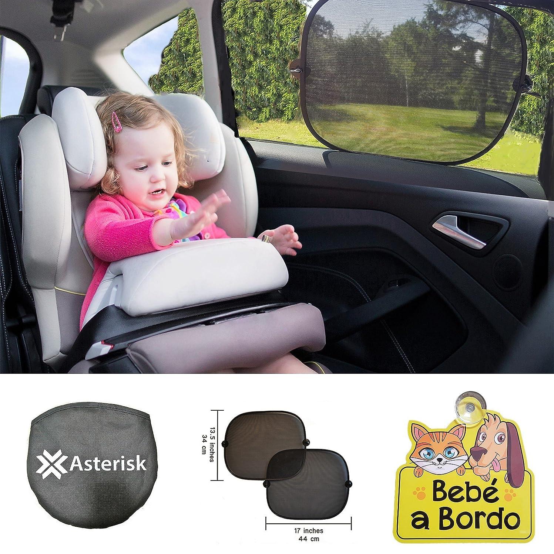 Parasoles infantiles para coche - Parasol para ventana lateral de coche - Extra Bebé A Bordo coche señal con ventosa - Parasoles de Coche para bebés y niños (Pack de 2) - Bloquea los rayos UV nocivos - Nuestras parasoles de auto