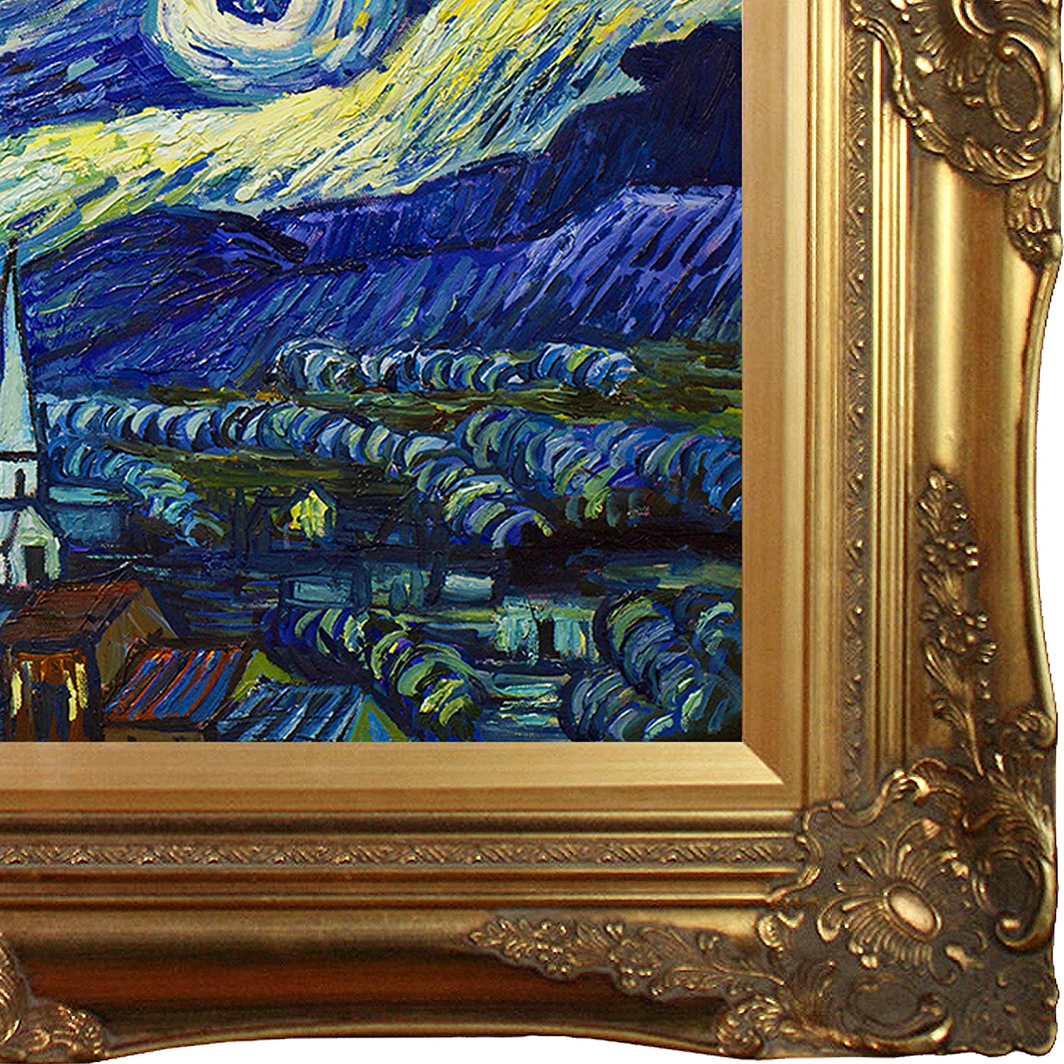 overstockArt Van Gogh Starry Night Painting with Victorian Gold Frame Gold Finish Oil Painting,