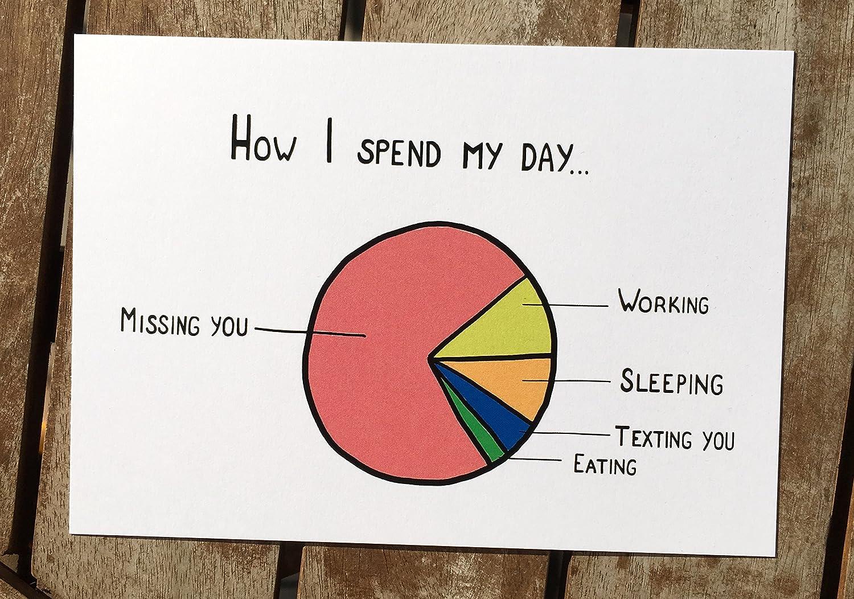lustige Karte - Fernbeziehung - Ich vermisse Dich - Geschenk - Statistik - how i spend my day: missing you
