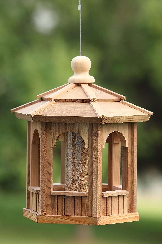 Western Red Cedar Bird Feeder 8 Sided Octagon Wire Hanger Tube For Feed New