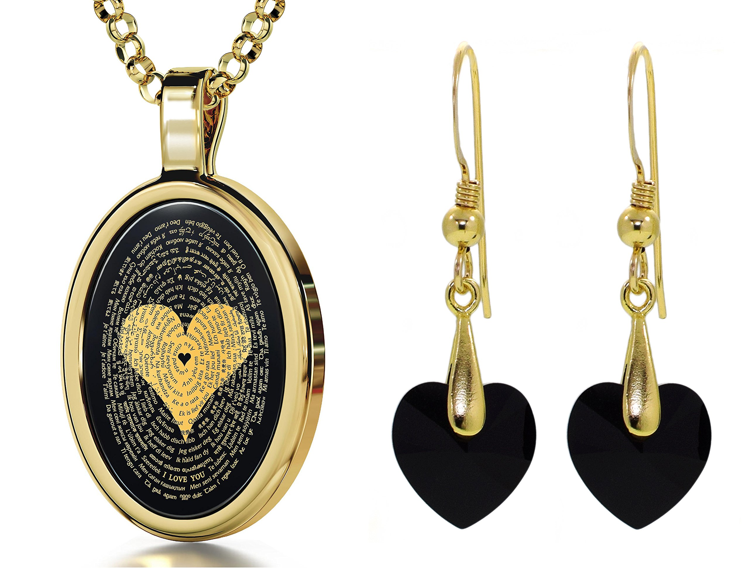 Gold Plated I Love You Necklace 120 Languages Inscribed Onyx and Crystal Heart Earrings Jewelry Set, 18''