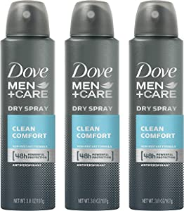 Dove Men + Care Dry Spray Antiperspirant, Clean Comfort 3.8 oz (Pack of 3)