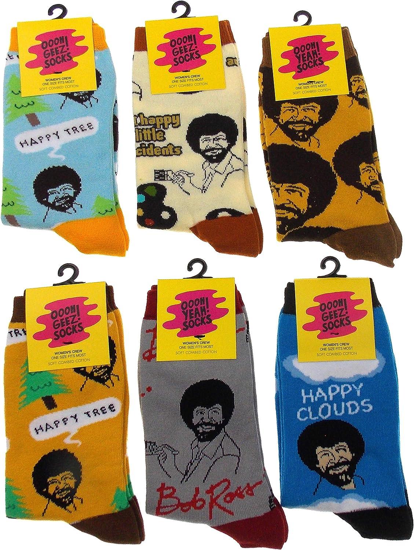 Bob Ross Womens 6 Pair Sock Bundle Luxury Combed Cotton Socks