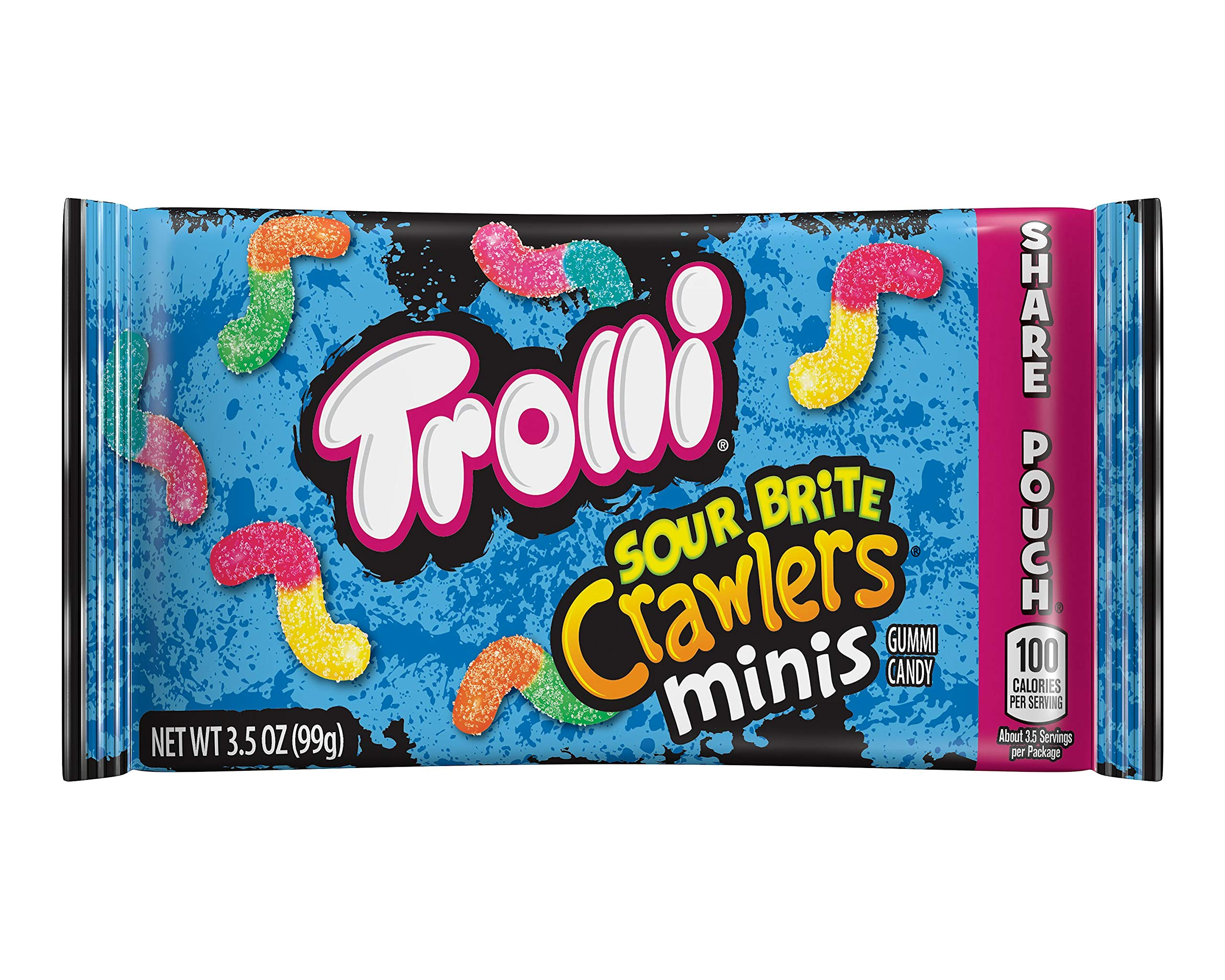 Trolli Mini Sour Brite Crawlers Gummy Worms, 3.5 Ounce Bag (Pack of 18) Sour Gummy Worms by Trolli