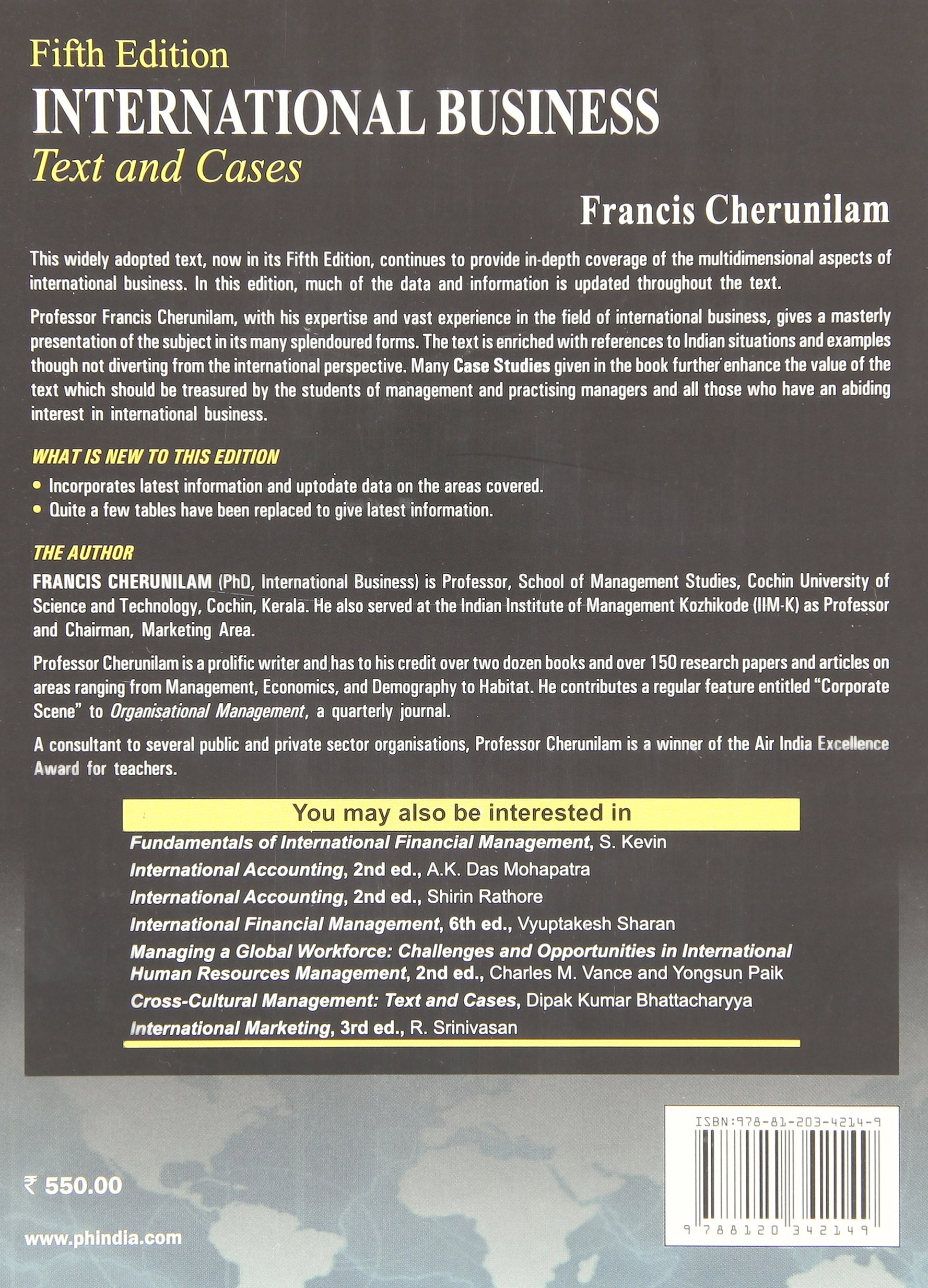 international business text and cases francis cherunilam  international business text and cases francis cherunilam 9788120342149 com books