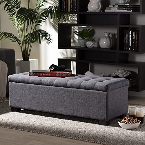 Baxton Studio Roanoke Modern and Contemporary Upholstered Grid-Tufting Storage Ottoman Bench Dark Grey