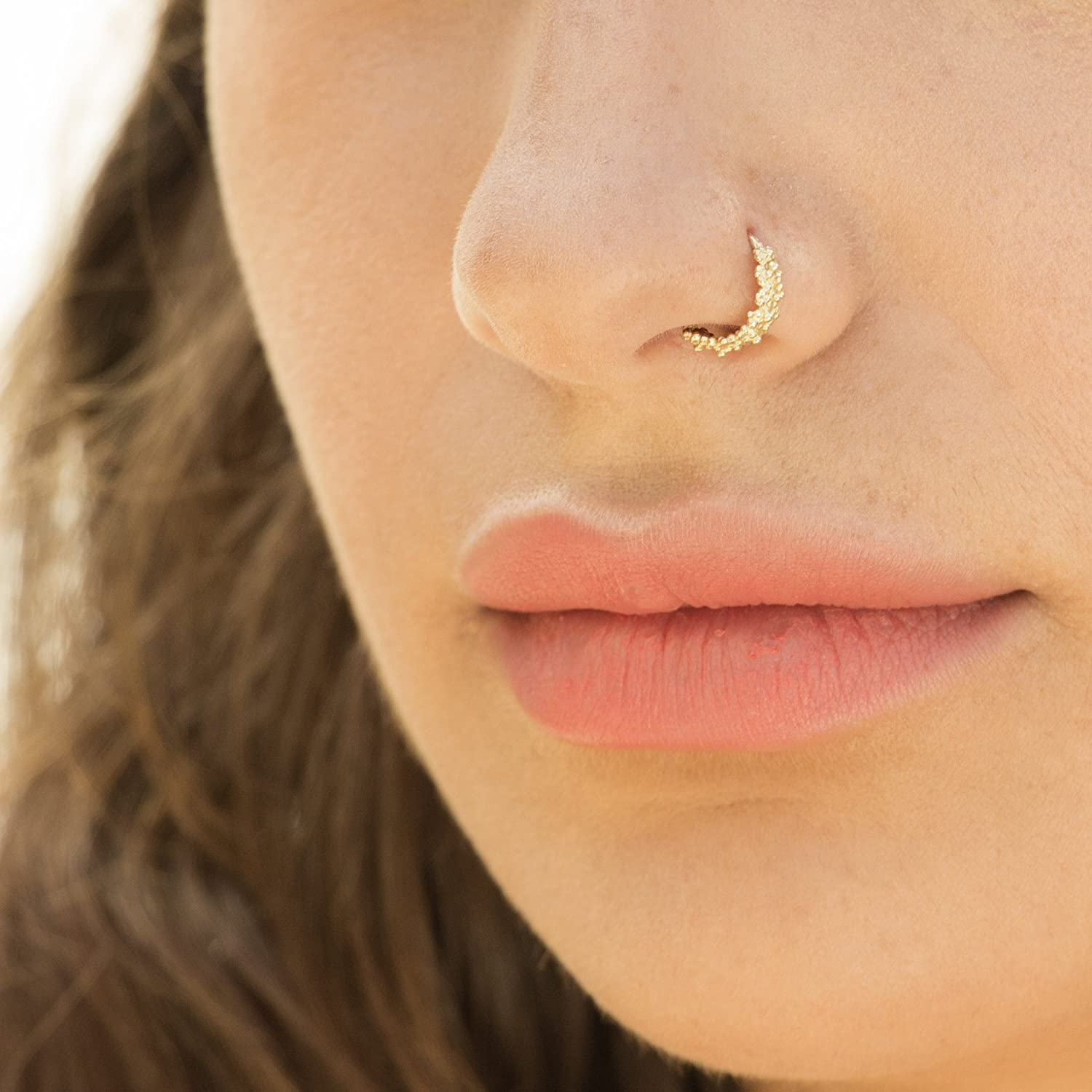 a4d575d48 ... Gold Nose Ring, 14K Solid Yellow Gold Tribal Nose Hoop, Indian Style  Piercing, ...