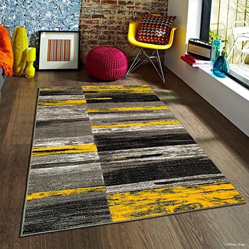 Allstar 8×10 Grey and Gainsboro Grey Modern and Contemporary Rectangular Accent Rug with Yellow and Charcoal Grey Abstract Brush Stroke Design 7 9 x 9 8