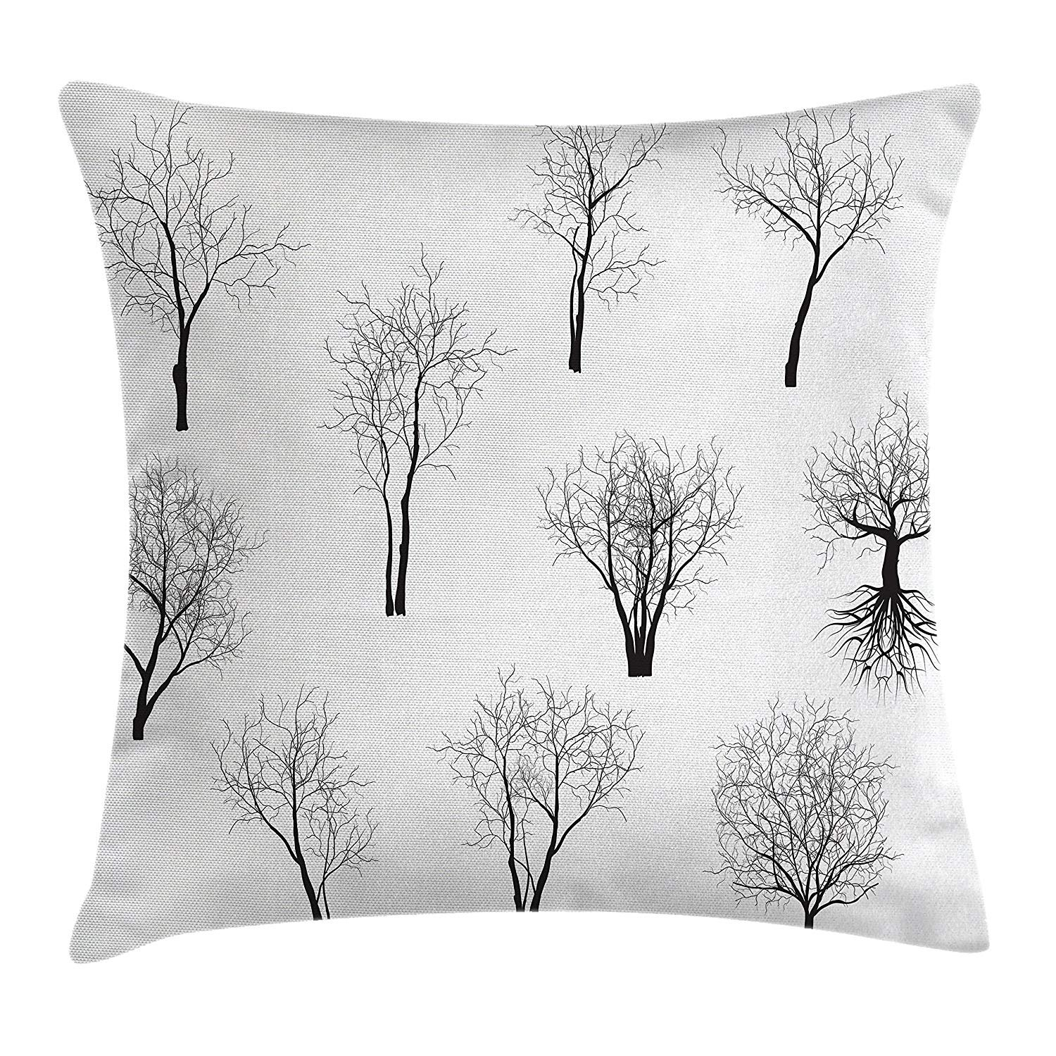 Queen Area Apartment Decor Spooky Horror Movie Themed Branches Forest Trees Nature Square Throw Pillow Covers Cushion Case Sofa Bedroom Car 18x18 inch, Black White