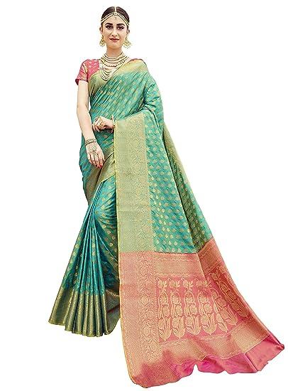 3d73d17e1578d EthnicJunction Booti Zari Butta Banarasi Silk Saree With Zari Thread Work  Unstitched Blouse Piece(EJ1178-7977
