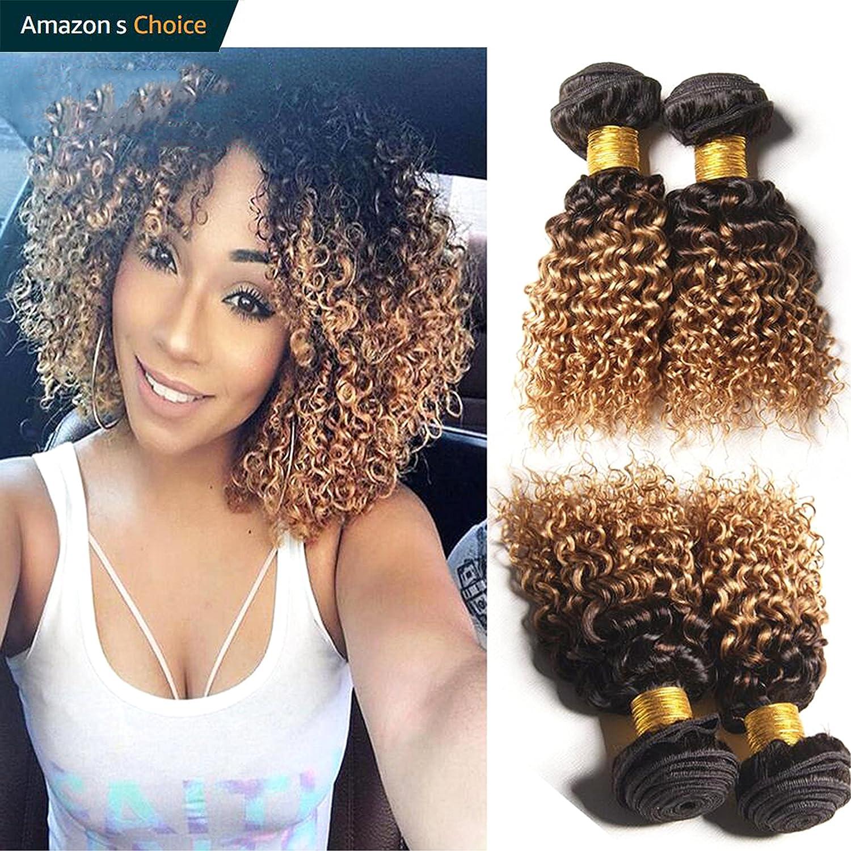 Hairitory Hair 2 Tone Ombre Curly Human Hair Weave 3 Bundles