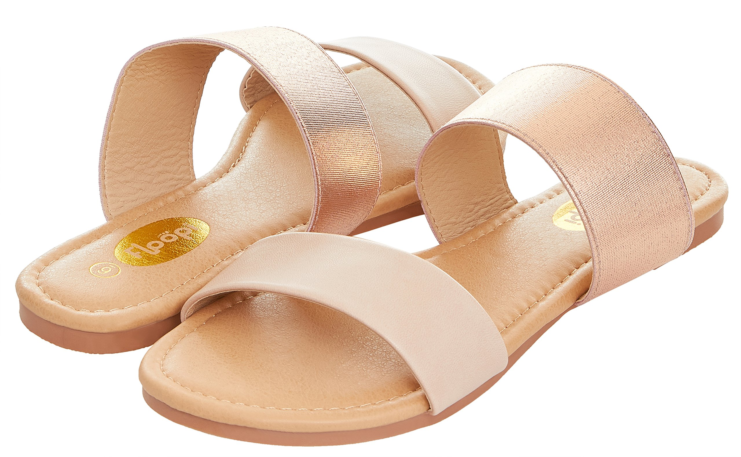 Floopi Womens Summer Wide Elastic Slide Flat Sandal (7, Nude-503)