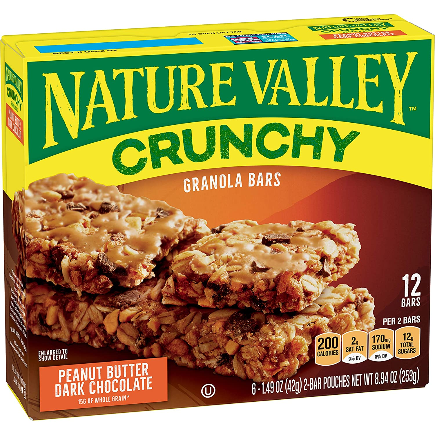 Nature Valley Peanut Butter Dark Chocolate Crunchy Granola Bars, 8.94 oz