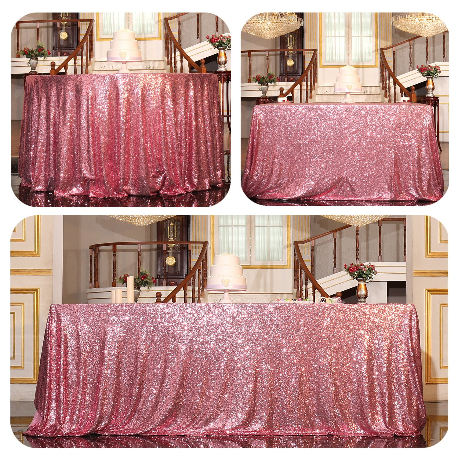 Fuchsia Pink 48 x72  PartyDelight Sequin Tablecloth Round 132  Tablecloth, pink gold
