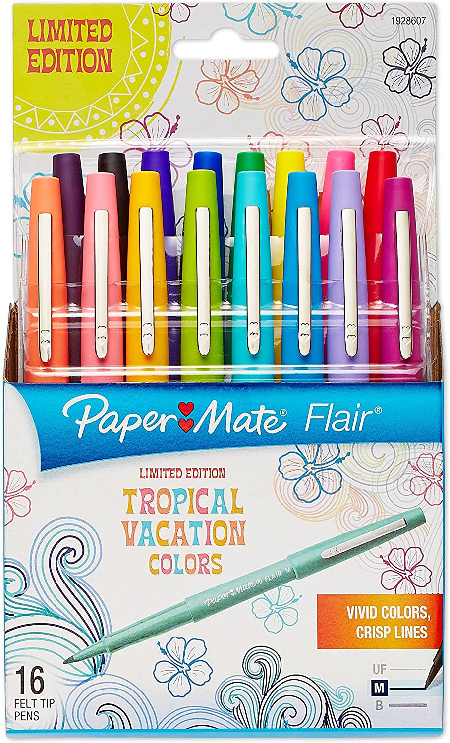 NEW Paper Mate Flair Medium Market Point  Lot of 9 BK,PU,RD,GN,OR,MG,BL,Lime
