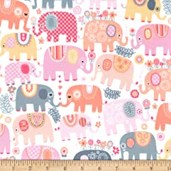 "Michael Miller"" Minky Happy Elephants, Pink"